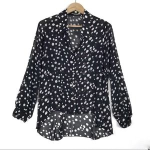 Body Central Dots High Low Button up Sheer Blouse